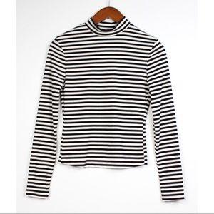 SHEIN Striped Long Sleeve Turtleneck Shirt